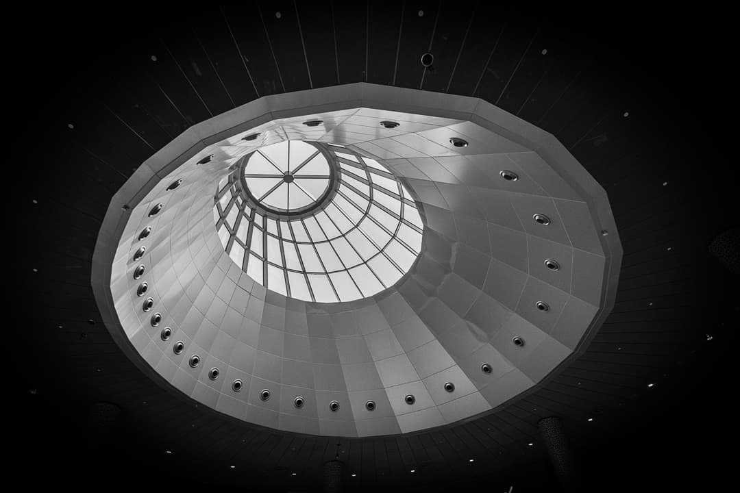 series outside landscape cityscape photo by taspho photography-dubai mall rooflight in black and white